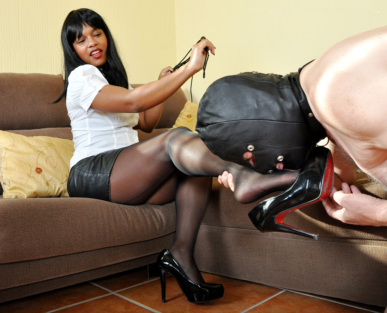 Dominant black mistress handjob